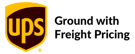 UPS logo with the words Ground with Freight Pricing